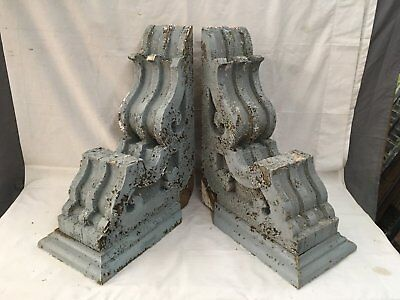 Large Pair Antique Victorian Corbels Roof Brackets Vtg Gingerbread Chic 733-17E