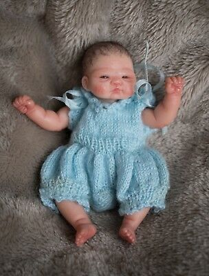 "Elena Westbrook 3.5"" OOAK Mini Baby Girl Doll Polymer Clay Miniature 3 Outfits"