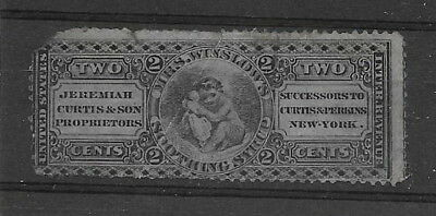 """U.S.A. c.1870. 2c stamp/label """"Mrs Winslows Soothing Syrup"""" etc"""