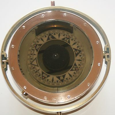 "9.8"" Rare Marine Antique Ships Compass!! J. Smith & Son Marked Brass Maritime"