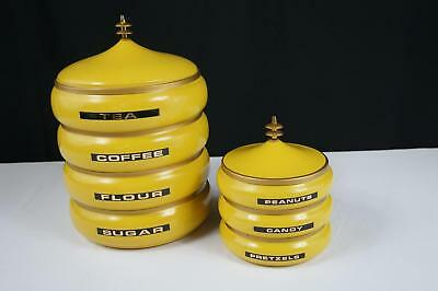 Mid Century Modern Retro Lincoln Beauty Ware Pagota Stackable Canister  - 2 Sets