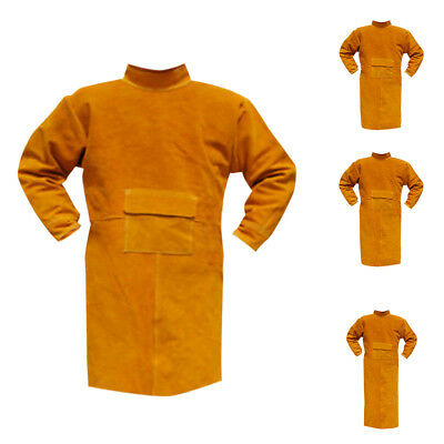 Welding Coat Protective Cowhide Leather Safety Heat Insulation Blue/Orange