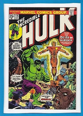 "Incredible Hulk #178_August 1974_Very Fine_""the Death Of Warlock""_Bronze Age!"