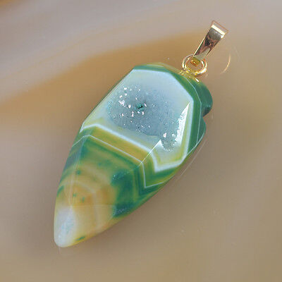 Green Agate Druzy Geode Faceted Pendant Bead Gold Plated B035903