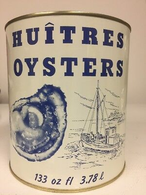 Vintage Huitres Oysters-Madison Seafood Co Madison Md Gallon Tin Can Red Lid