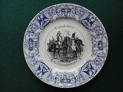 19th Century Antique Sarreguemines Military Plate French with Grenadier Guards