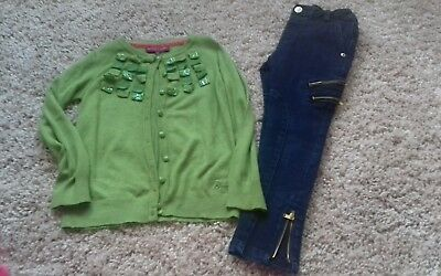 Girls Ted Baker cardigan and skinny jeans 4-5 years