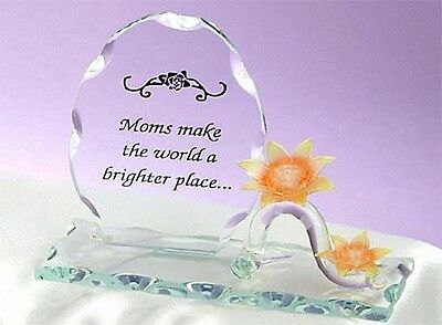 Sculpted Glass MOM PLAQUE w/ Yellow Sunflower Flower by Unison Gift Mothers Day