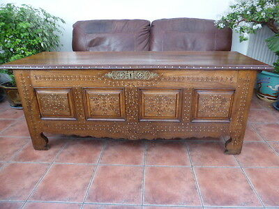 French Ornate Elm Coffer Make Great Coffee Table 1820 Free Shipping England