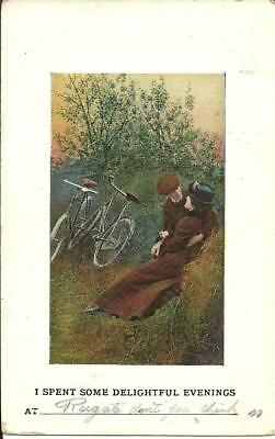 "Cyclists ""i Spent Some Delightful Evenings At Reigate"" (Printed) 1909"