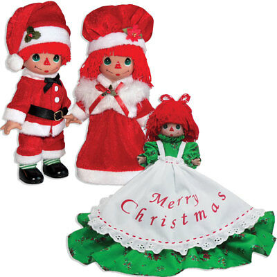 NEW (Set) Precious Moments Raggedy Ann & Andy Claus Dolls & Holiday Tree Topper