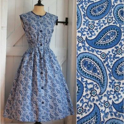Original Vintage 50s 'BeechTree' Blue Paisley Print Cotton House Day Dress 10