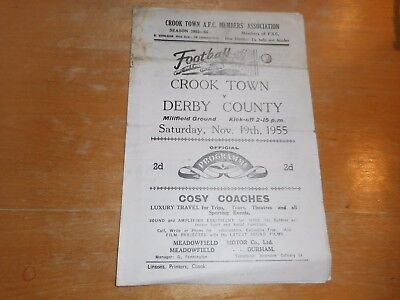 CROOK TOWN  v  DERBY COUNTY  1955/6  F A CUP 1st ROUND ~ NOV 19th  **MEGA RARE**