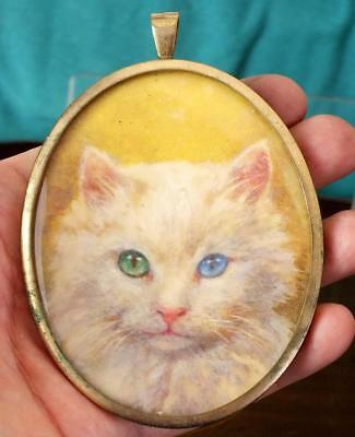 Large Well Painted Portrait Miniature Of A Cat In A Fine Gilded Oval Frame