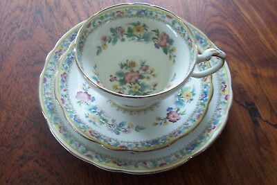 Foley Ming Rose Antique Trio - Tea Cup, Saucer, Bread & Butter Plate 7 Inches