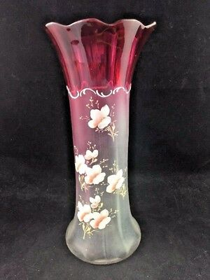 """Victorian Blown Glass Hand Painted Pink 10 1/2"""" Vase Mont Joye Bohemian Moser"""