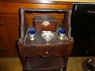 Vintage Smoking Table Lined  Stand Cabinet Unique Item