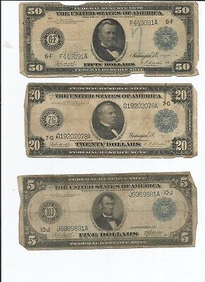 1914 Series of Large Notes Lot of Three $50 (Atlanta) $20 (Chicago) and $5 (KC)