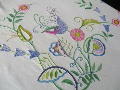Vintage Tablecloth-Hand Embroidered Jacobean Design-Linen