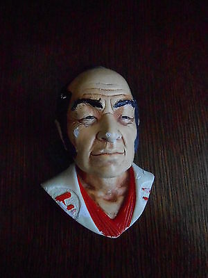 VINTAGE CHALK WALL PLAQUE.FACE OF A  JAPANESE MAN/SAMURAI . APPROX. 6 ins. TALL