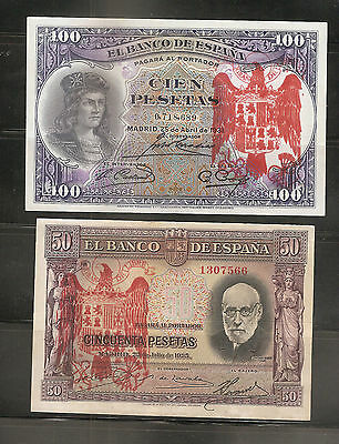 LOTE 2 BILLETES 100 PESETAS 1931 / 50 PESETAS 1935 BURGOS CIVIL RESELLO FRANCO k