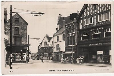 MASON'S REAL PHOTO POSTCARD OF OLD MARKET PLACE, GRIMSBY, LINCOLNSHIRE c1956
