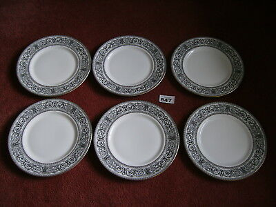 6 ROYAL DOULTON BARONET BONE CHINA DINNER PLATES in excellent condition