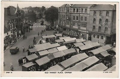 TUCK'S REAL PHOTO POSTCARD OF OLD MARKET PLACE, GRIMSBY, LINCOLNSHIRE c1956