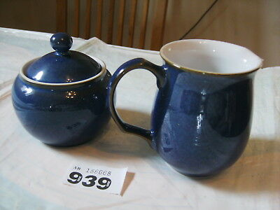 DENBY IMPERIAL BLUE MILK CREAM JUG & LIDDED SUGAR BOWL in perfect cond.