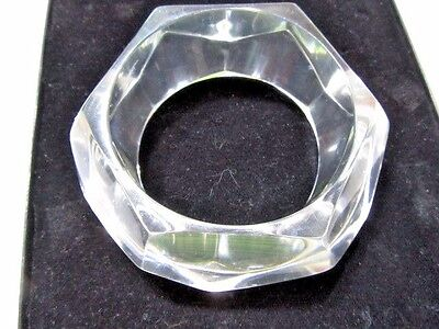 Chunky Geometric Wide Bangle Bracelet Clear Lucite Thick Trendy Fashion