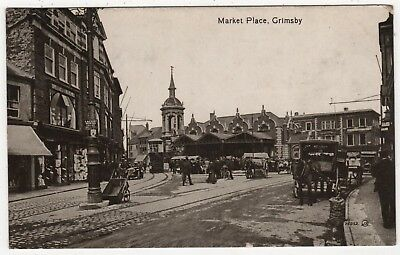 VALENTINE'S REAL PHOTO POSTCARD OF MARKET PLACE, GRIMSBY, LINCOLNSHIRE c1918