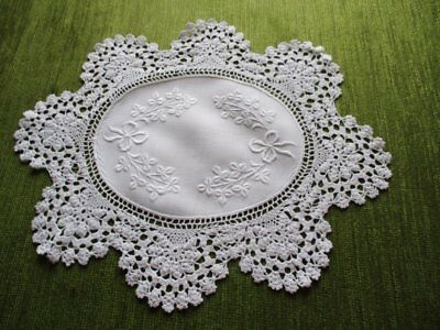 Antique Tray Cloth-Embroidered With Hand Crochet Edge