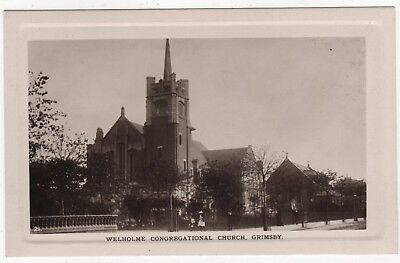 Real  Photo Postcard Of Welholme Congregational Church, Grimsby, Lincolnshire
