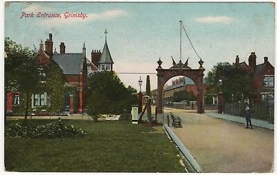 Printed Photo Postcard Of Park Entrance , Grimsby, Lincolnshire Posted 1908