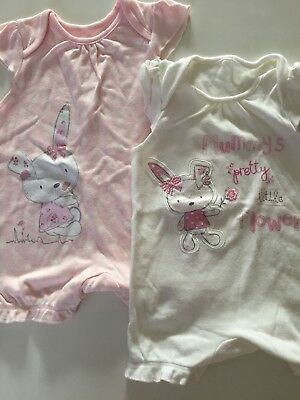 Baby Girls George 2 Pack Playsuits First Size - EXCELLENT CONDITION