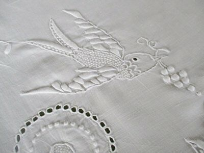 Antique Tablecloth-Whitework Hand Embroidery-Beautiful