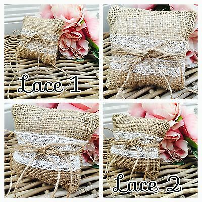 Vintage Style Hessian Wedding Ring Cushion/pillow - 2Laces To Choose From