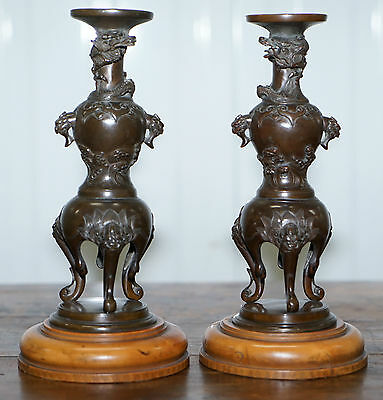 Rare Japanese Meiji Period Circa 1870 Pair Of Bronze Dragon Candlestick Holders