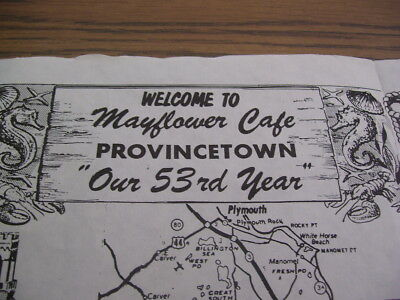Vintage Mayflower Cafe in Provincetown Mass (Cape Cod) Paper Place Mat (1960's)