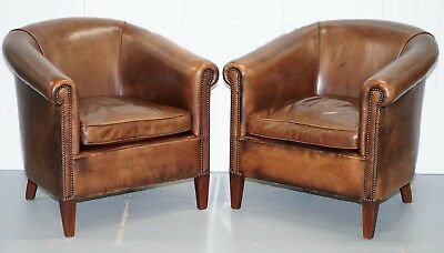 Pair Of Rrp £3790 Leather Chairs Of Bath James Bond Brown Leather Club Armchairs