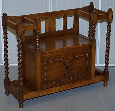 Lovely Solid English Oak Barley Twist Edwardian Stick Umbrella Stand Bench Seat