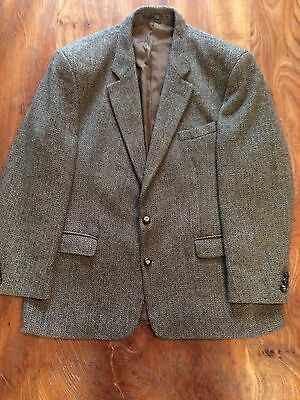 Vintage mens tailor made Harris tweed suit jacket blazer XL in greens and browns