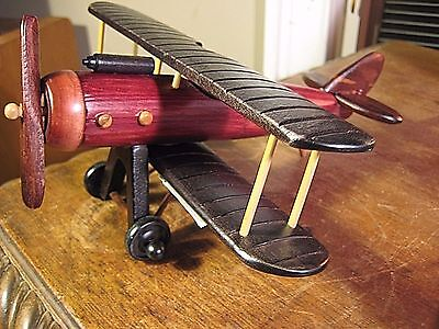 Wooden Made  Bi-Plane  Collectors Military Aircraft Decor Model Airplane Display