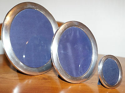 Set Of Three Rare Rrp £1750 Sterling Silver Asprey London Oval Picture Frames