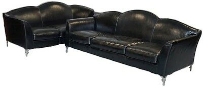 Pair Of Rrp £28,000 Ipe Cavalli Nella Vetrina Made In Italy Black Leather Sofas