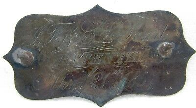 ANTIQUE SILVER JF & CL POND OCT 26th 1858 April 21st 1857 BUILDERS PLATE SIGN