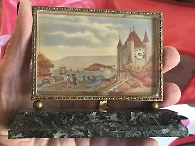 Antique Miniature Scenic Picture Clock-Didisheim Goldschmidt Fils & Co.-Swiss