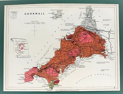 Cornwall - Antique Stanford Geological Map C.1904 Colour Folding