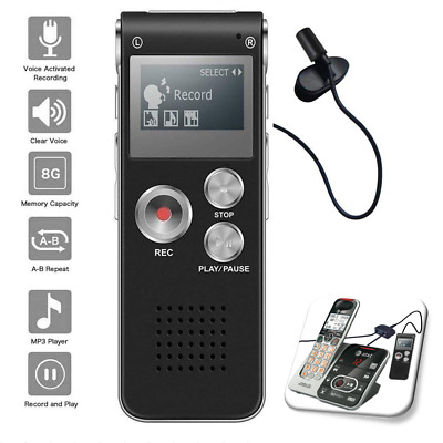 Voice Activated Digital Recorder 8GB USB w Microphone Landline Phone Recording