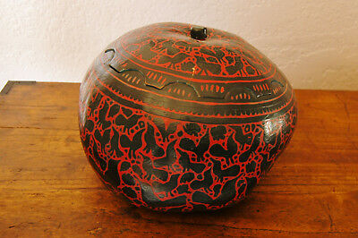 Fantastic Large Antique Mexican Painted Gourd